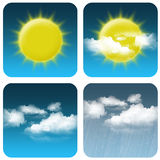 Weather Icon. Sun, cloudy small, cloudy big and rain Royalty Free Stock Image