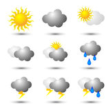 Weather icon. No background in different weather icons Stock Images