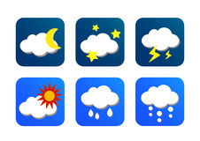 Weather icon with blue background. Weather icon set with blue background Royalty Free Stock Photos