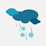 Weather Icon of the Cloudy Sky with Snow and Rain Royalty Free Stock Photos