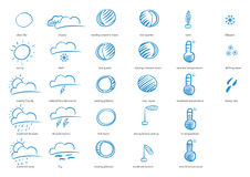 Weather icon. Hand drawing weather icon. Suitable for design prototype, greeting card etc Royalty Free Stock Images