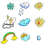Weather icon hand-drawn Royalty Free Stock Images