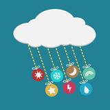 Weather icon hanging from cloud. Colorful weather icon hanging from cloud Stock Image