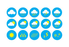 Weather Icon, Icons representing weather related symbols. Stock Photos