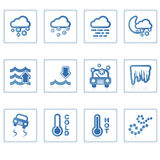 Weather icon II. A set of web icons with light reflections stock illustration