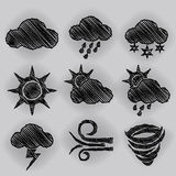 Weather Icon Pen Shading Effect Sets Royalty Free Stock Photography