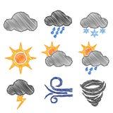Weather Icon Pen Shading Effect Sets Stock Photo