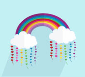 Weather icon. Rainbow clouds with long shadows and hearts vector illustration Stock Photo