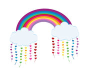 Weather icon. Rainbow clouds with long shadows and hearts vector illustration Royalty Free Stock Photography