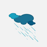 Weather Icon of the Rainy Cloud Stock Image