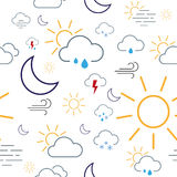 Weather Icon Seamless Pattern Tile Royalty Free Stock Photos