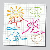 Weather icon series in sketch Royalty Free Stock Photography