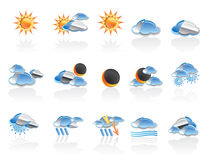 Weather icon set. Weather, cloud and sun icons - vector icon set Royalty Free Stock Image