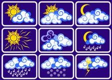 Weather icon set. Clouds, sun, precipitation Stock Photos