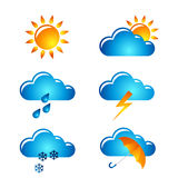 Weather icon set. Set of vector templates with weather icons Stock Photography