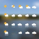 Weather icon set. On background - vector Stock Image