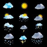 Weather Icon set on black background Stock Images