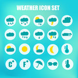 Weather Icon Set. Blue Colors. Vector Illustration Royalty Free Stock Image