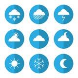 Weather icon set with clouds. Sun moon snow rain. Vector illustration Stock Photo