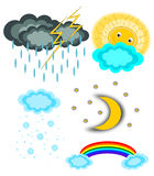 Weather icon set. Collection Isolated Royalty Free Stock Photos
