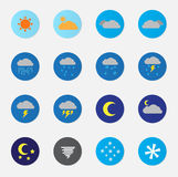 Weather Icon Set Color. With float round button Royalty Free Stock Images