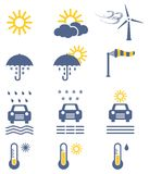 Weather forecast icon set. Colored weather vector icons collection Stock Images