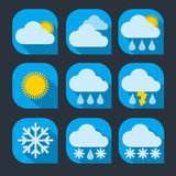 Weather icon set flat Royalty Free Stock Images