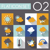 Weather icon set. In flat style design Royalty Free Stock Image