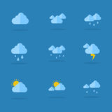 Weather icon set flat vector Royalty Free Stock Images