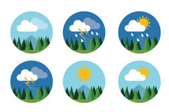 Weather icon set flat vector forecast sky cloud sunny thunder. With mountain Stock Photos