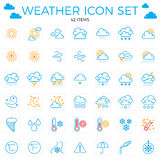 Weather icon set. Line icons.42 items. Clouds, sun, rain, umbrel. Weather icon set. Line icons.42 items. Clouds, sun, rain umbrella 64x64 Editable stroke Stock Photography