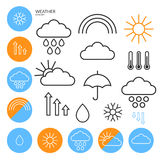 Weather. Icon Set. Outline Royalty Free Stock Photos