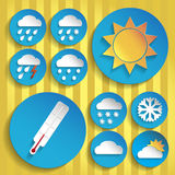 Weather icon set, paper style Royalty Free Stock Photography