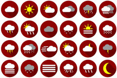 Weather icon set in red Stock Images