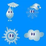 Weather  icon set. Snowflake drop Stock Photos
