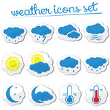 Weather icon set (stickers) Royalty Free Stock Photo