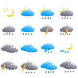 Weather icon set summer night. Isolated Stock Image