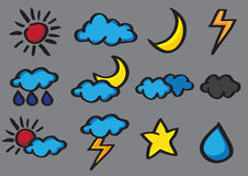 Weather Icon Set Vector Cartoon Doodle Stock Photos