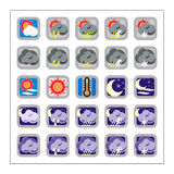 Weather  Icon Set - Version 2. 25 different colored icons in a square shaped buttons for weather Stock Photo