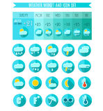 Weather Icon Set. Weater Widget. Blue Colors. Vector Illustration Stock Photo