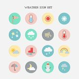Weather icon set on white background. Vector illustration Royalty Free Illustration