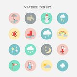 Weather icon set on white background. Vector illustration Stock Illustration