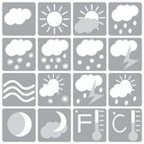 Weather icon set, white and gray Royalty Free Stock Photo