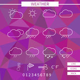Weather icon set. White thin line elements on Royalty Free Stock Images