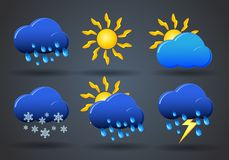 Weather icon sign set on gray Royalty Free Stock Photo