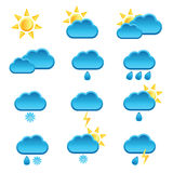 Weather icon with sun and cloud illustration Royalty Free Stock Image