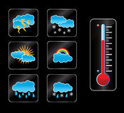 Weather icon and thermometer. Buttons for a web or icon for a computer Stock Illustration