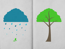 Weather icon and tree on hand made paper Royalty Free Stock Photo