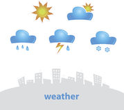 Weather Icon. Vector illustration set of original weather icons Stock Photos