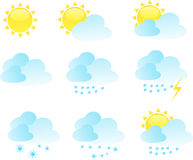 Weather icon vector set. 9 elements Royalty Free Stock Image